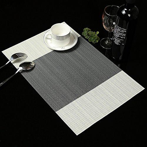 Kaze Platzset, 6-teilig Platzdeckchen Set, PVC Tischmatte, 45 x 30 cm, Waschbar, Grau
