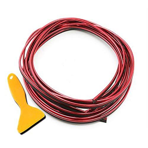 Zierleiste für Auto-Innenraum, gold/rot/blau/silber/lila, 5 m Folie, Auto-Innendekoration, Zierleiste, Gummidichtung, Schutz für die meisten Autos rot