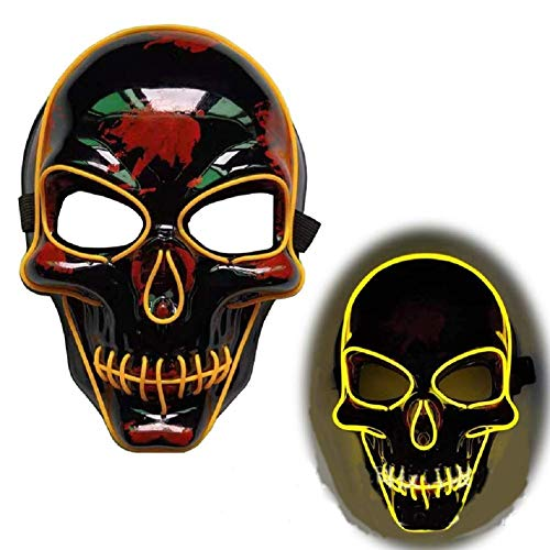 Bobopai 5 Colors Halloween EL Wire Light Up Skull Mask LED Light Up Mask Costume,Skull Cosplay Mask for Party,Carnival, Festivals (Yellow)