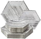 Holz-, Teller, Weiß/Silber-Struktur–mit Geschirr-Set–Ideal für Partys, Abendessen, Events (36Stück)