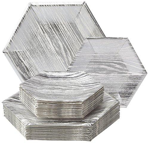 Holz Collection Schweres Papier Teller, weiß & silber struktur–Einweg Sechseck Design Teller Geschirr Set–perfekt für formelle Abendessen, Partys, und Events (Set von 36) (Weihnachten Papier Geschirr)