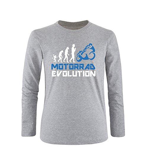EZYshirt® Motorrad Evolution Herren Longsleeve Grau/Weiss/Blau
