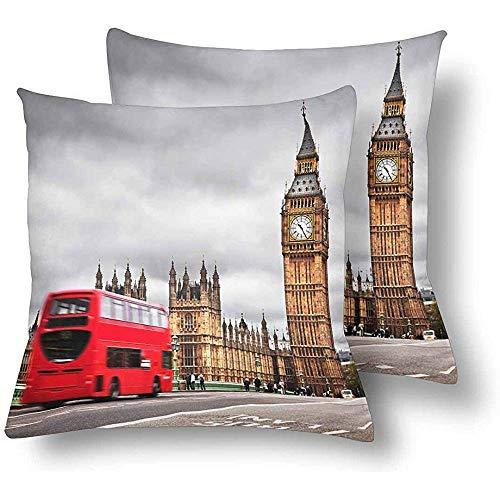 NAN TIAO London UK Red Bus Big Ben Dekokissen Abdeckungen 18x18, Kissen Kissenbezüge Kissenbezug Home Couch Sofa Bettwäsche