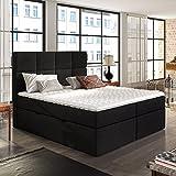 Sonic - Polsterbett/Doppelbett in Schwarz Boxspringbett-Look mit Taschenfederkernmatratze Topper Bettkasten (160x200 cm)