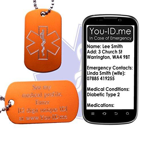 Dementia Medizinische Alert ID SOS Halskette Tag Orange Gravur Aluminium Army Dog Tag Schmuck Anhänger Smartphone Gerät Medic Alert Service www.You-ID.me. Notfall-Talisman optional SMS -