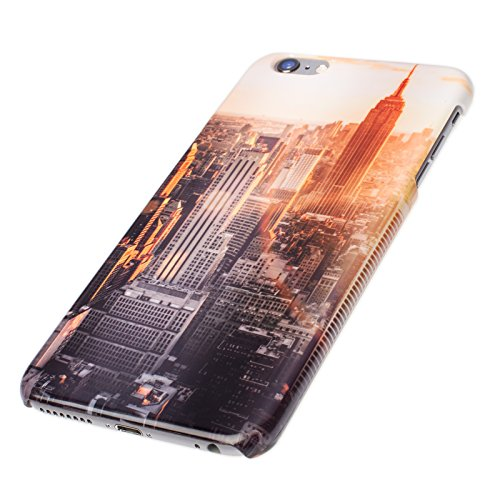FINOO ®   Handyhülle Komplettdruck Hardcase Hart Schale cover Case Schutzhülle für Iphone 6/6S Plus Löwe gemalt New York