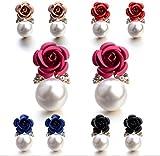 #9: Shining Diva Fashion Pink Pearl Floral Stylish Fancy Party Wear Stud Earrings For Women & Girls