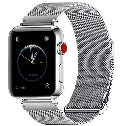 Fullmosa Bracelet Compatible avec Apple Watch/iwatch 38mm 40mm 42mm 44mm, 4 Couleurs Web pour Bracelet Apple Watch Series 4/3/2/1 Milanese en Acier Inoxydable avec Fermeture Magnétique, Argenté 40mm