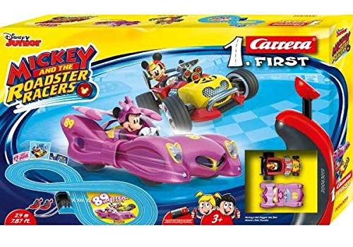 Carrera First Disney Mickey and The Roadster Racers 20063019 Rennbahn für Kinder ab 3 Jahren Mickey Mouse Vs. Minnie Mouse