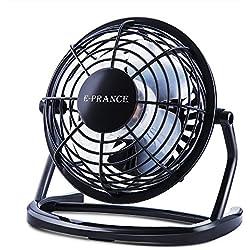"""E-PRANCE Mini Ventilateur USB de Bureau silencieux Portable Mini Fan 4"""" 360°Compatible pour PC ordinateur portable Noir"""