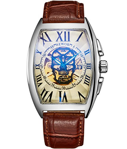 Sewor Luxury Mens Skull Head Automatic Mechanical Wrist Watch Leather Band Glass Coating Blue (Silver Platinum)