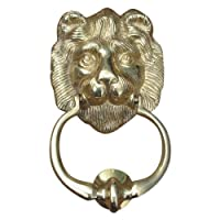 Lion Head Door Knocker Similar to 10 Downing Street - 175mm - Polished Brass