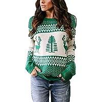 Geili Weihnachts Pullover Damen Weihnachten Strickpullover Christmas Sweater Frauen Rundhals Langarm Weihnachten Pulli Bluse Tops Oberteile Festlich Xmas Kostüm