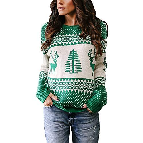 (Geili Weihnachts Pullover Damen Weihnachten Strickpullover Christmas Sweater Frauen Rundhals Langarm Weihnachten Pulli Bluse Tops Oberteile Festlich Xmas Kostüm)