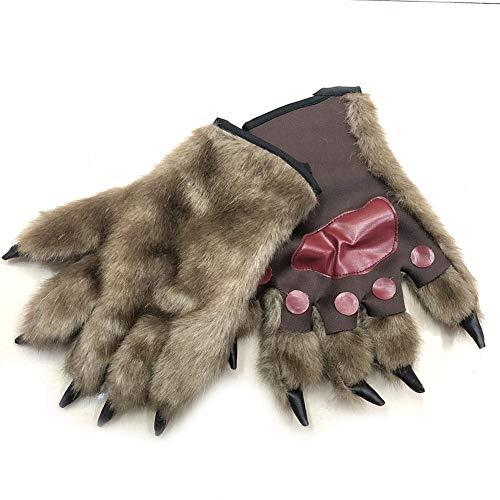 cheerfulus Bär Kostüm Pfoten für Erwachsene, Paw Mitts Realistische haarige Hände Tier Pfoten Handschuhe Werwolf Wolf Bär Monster Halloween Kostüm Handschuhe Kinder Erwachsene (Kostüm Wolf Hände)