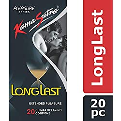 KamaSutra Pleasure Series Condoms for Men, LongLast Condoms, Contains Active Ingredient for Climax Delay, Dotted Texture, 20 Premium Condoms