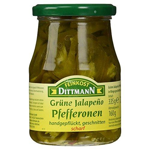 Feinkost Dittmann Grüne Jalapeño Pfefferonen geschnitten scharf, 160 g