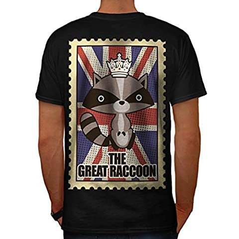 Waschbär Flagge königlich Vereinigtes Königreich GB Tier Herren S T-shirt Zurück | Wellcoda