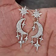 Moon and Star Earrings, Designer Dangle Earrings, Drop Earrings, 925 Sterling Silver Earrings for Christmas Gi