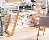 SalesFever Schreibtisch Venla Skandinavisches Design, Bürotisch mit Glasplatte, Massive Eichenholz-Füße geölt, 110x55x75 cm, Trendiger & robuster Arbeits-Tisch, Computertisch weiß, FSC® Zertifiziert