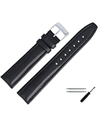 18 mm Leather Watch Strap Black Stitching, Bombage Leather Bracelet Watch With Spring Bars & Tool – Discreet Bombiertes Watch Replacement Strap – MARBURGER Watch Since 1945 Black/Silver