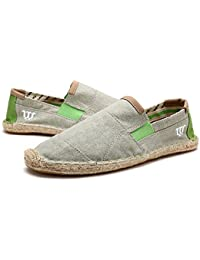 Mens Canvas Summer Slip On Straw Shoes