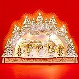 SIKORA LB56 kleiner LED Holz Schwibbogen ENGEL Kapelle B:29,5 cm