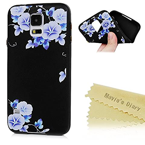 Mavis's Diary Samsung Galaxy S5 Case ,S5 Floral Case - Ultra Thin [3D Relief Prints] Scratch Resistant TPU Gel Rubber Soft Skin Silicone Protective Case Cover Exact-Fit Black Case [Gold Button Protection] - Morning