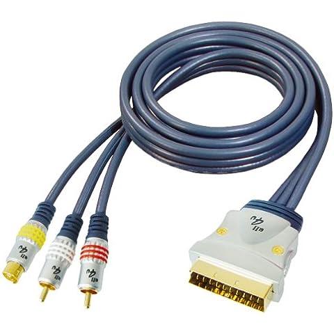 All4u BBVS 8 - Cable de vídeo (de euroconector a S-Video de 4 pines y RCA de dos clavijas, conectores cromados, 3 m), color azul