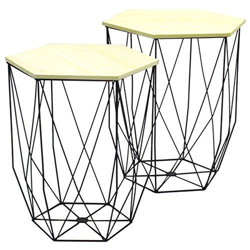 Promobo Ensemble Duo De Table Gigogne Filaire Noir Design Cosy Scandinave
