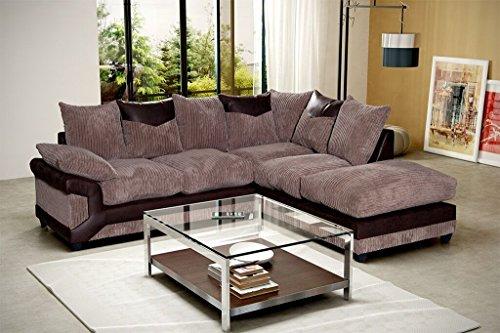Prestige - divano ad angolo, colore: marrone e caffè, nero e grigio, con grande poggiapiedi, in tessuto, lato sinistro