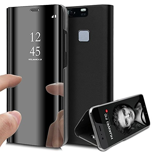 KunyFond Überzug Spiegel Hülle für Xiaomi Redmi Note 5 PU Leder Tache Brieftasche Schutzhülle im Bookstyle Mirror Effect Handyhülle Standing Slim Fit Cover Schale Shell (Schwarz)