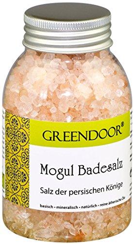 GREENDOOR Mogul Badesalz 300g Salz persischer Könige, reine natürliche ätherische Öle, biologisch abbaubar, rosa Kristallsalz, hergestellt in Deutschland, Badezusatz Natur-Kosmetik, natürlich ohne Tierversuche