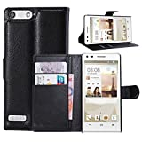 Tasche für Huawei P7 Mini Hülle, Ycloud PU Ledertasche Flip Cover Wallet Case Handyhülle mit Stand Function Credit Card Slots Bookstyle Purse Design schwarz