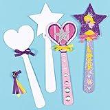 Zauberstäbe aus Pappe zum Basteln und Bemalen für Kinder/Mädchen - für Kindergeburtstag und Mottoparty (8 Stück)