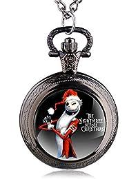 ShopyStore Black Antique Black Nightmare Before Christmas Theme Pocket Watch Vintage Steampunk Pen