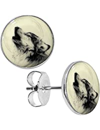 Body Candy Stainless Steel Glow in the Dark Howling Wolf Stud Earrings