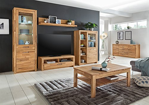 Sideboard, Kommode, Highboard, TV-Board, Flurkommode, Anrichte, Schlafzimmerkommode, Wildeiche, teilmassiv, furniert - 2