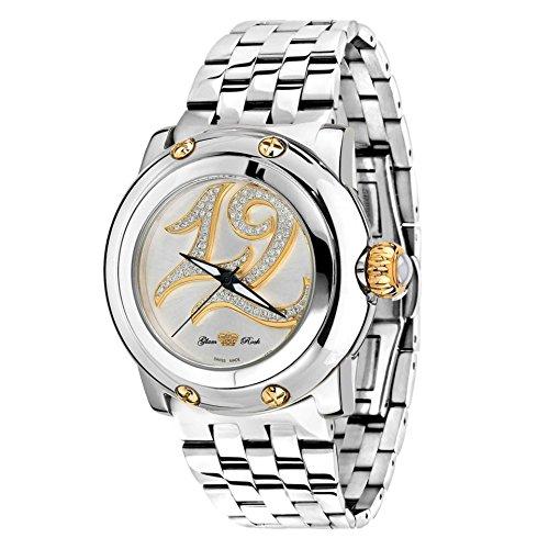 Glam Rock Women's Summer Time Diamond 40mm Steel Bracelet & Case Swiss Quartz Analog Watch GR40405SS