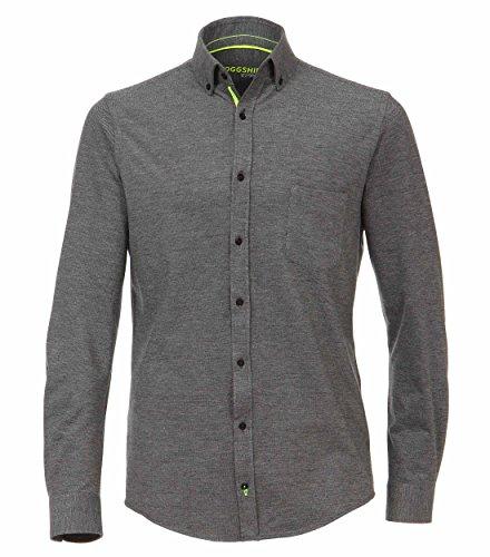 VENTI Slim Fit Hemd Langarm JOGGSHIRT neongelbe Besätze Muster schwarz Größe XL
