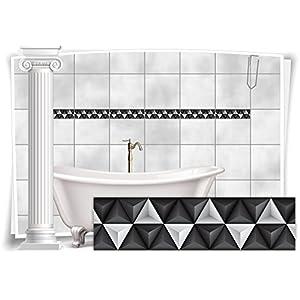Fliesenaufkleber Fliesenbild Fliesen Aufkleber Mosaik Grau Weiss Kachel Bad WC Küche Deko Kachel Badezimmer, 20 Stück, 25x6,5cm (BxH)