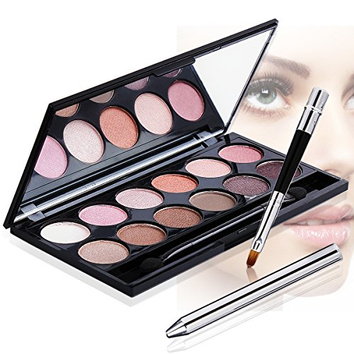 DE'LANCI Perfect Makeup Set Cosmetic Kit- Eyeshadow Palette, Mascara,Liquid Eyeliner Pencil, Eyebrow Pencil, Lipstick & Lip Brush - Leather Cosmetic Bag - Gift Set