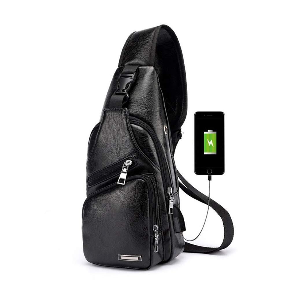 Mochila De Viaje Mensajero Bolso con USB Puerto Bandolera De Cuero Para Hombre