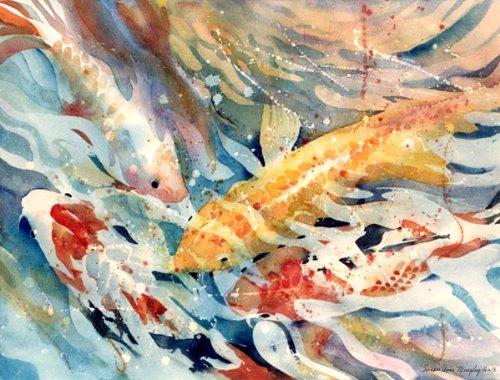 Susan Avis Murphy Koi Teich, Neu Print von Hellen Orange Fisch im Wasser, 25,4x 33cm -