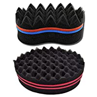 Amaoma Magic Curl Sponge Brush, Hair Sponge Brush for Twists Natural Magic Twist Hair Weave Sponge Brush Afro Curly For Home and Barber-2 Pcs