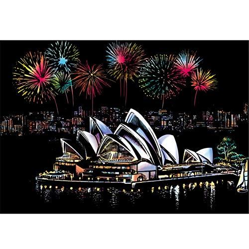 Kratzbilder Set 405 x 285MM Scratch Art Paper Set, Weltberühmten Wahrzeichen der Stadt Patterned Rainbow Scratch Notepad für Erwachsene Kinder Wandbild DIY (Sydney Opera House) -