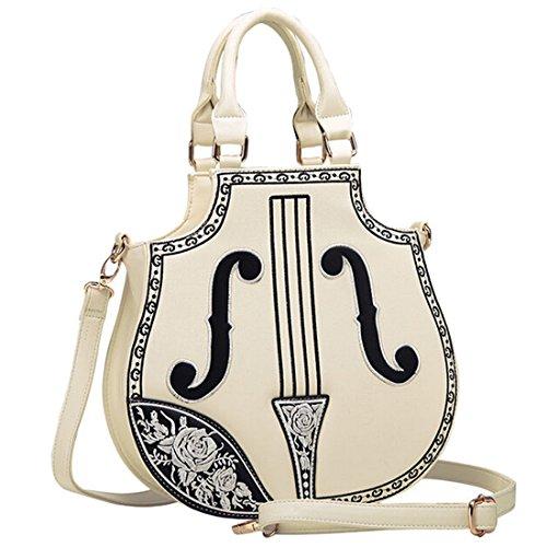 Partiss Damen PU Geige Shaped Gothic Lolita Handtsche Retrostil Kunstleder Umhaengetasche Schultertasche Handtasche Klassisch Lolita Handbags Weiss