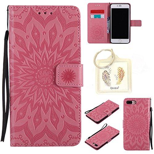 """Preisvergleich Produktbild für Iphone 7 Plus (5,5"""") Geprägte Muster Handy PU Leder Silikon Schutzhülle Handy case Book Style Portemonnaie Design für Apple Iphone7 Plus (5,5"""") + Schlüsselanhänger2W (2)"""