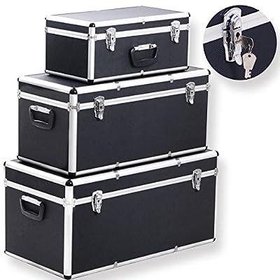 Masko® 3er SET Alu Boxen Alubox Alukiste Transportbox Werkzeugkiste Lagerbox NEU, Farbe:schwarz