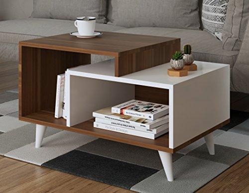 Homidea SAGE Couchtisch   Weiß/Nussbaum   Wohnzimmertisch   Beistelltisch    Kaffeetisch In Modernem Design
